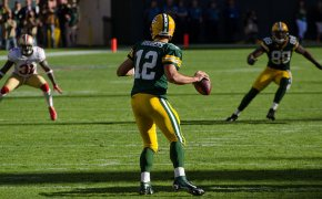 Aaron Rodgers of the Green Bay Packers preparing to throw
