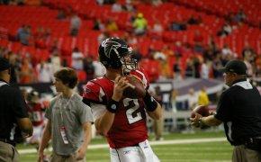 Matt Ryan of the Atlanta Falcons warming up