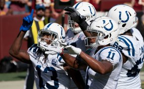 Receiver TY Hilton celebrates with the Indianapolis Colts.