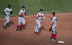 Red Sox players celebrate.