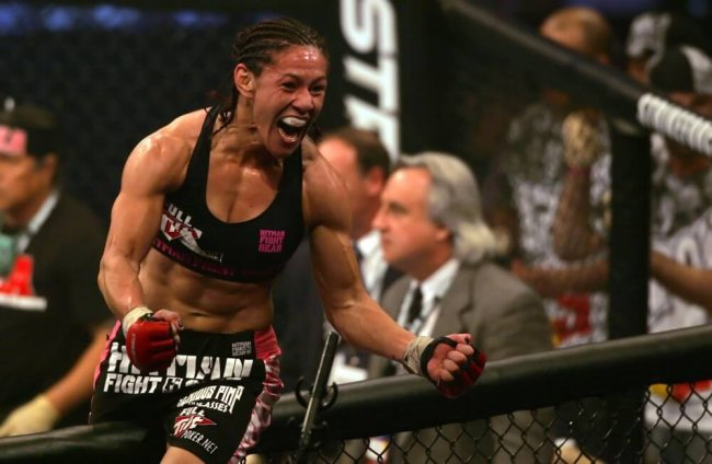 30 JAN 2010: Cris Cyborg of Curitiba, Brazil shows her excitement after defeating Marloes Coenen during Showtime Sport's Strikeforce Miami Fight Card at the BankAtlantic Center in Sunrise, FL.