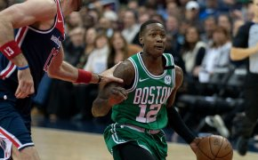 Boston Celtics guard Terry Rozier drives to the hoop against Washington.