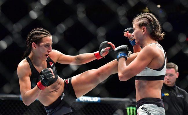 Nov 13, 2016 - New York, New York, U.S. - Joanna Jedrzejczyk (red gloves) vs. Karolina Kowalkiewicz (blue gloves) during UFC 205 at Madison Square Garden (Photo by Jason Silva/Zuma Press/Icon Sportswire)