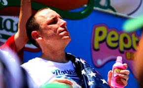 Joey Chestnut after the 2010 Nathan's Hot Dog Eating Contest