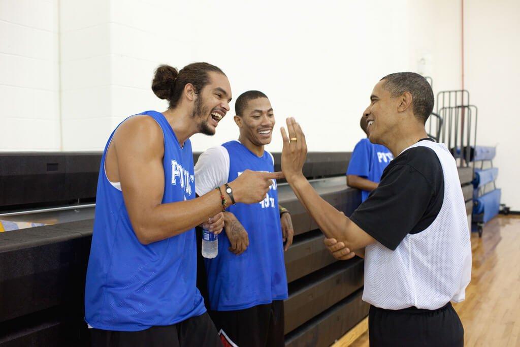 Joakim Noah, Derrick Rose and Barack Obama