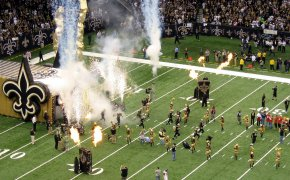 The New Orleans Saints come out of the tunnel