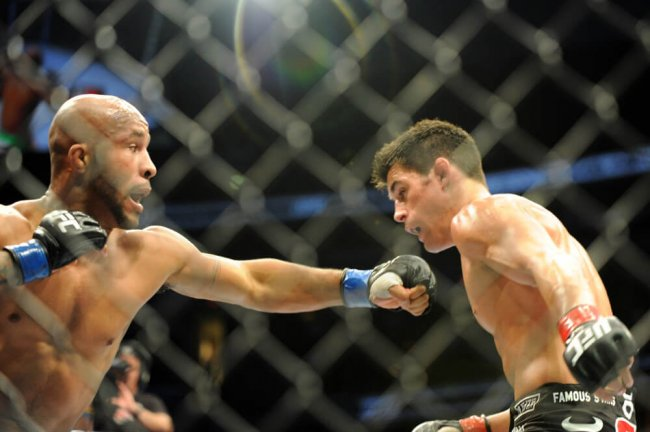 01 October 2011: Demetrious Johnson (L)in action against Dominick Cruz (R) in the UFC Live on Versus 6 on October 1, 2011 at the Verizon Center in Washington, D.C. in the UFC Bantamweight Championship title fight.