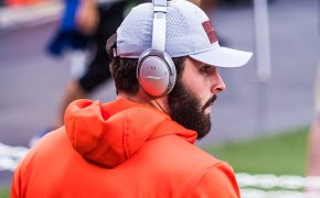Baker Mayfield with his headphones on pre-game