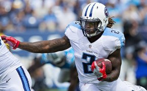 Derrick Henry, running back for the Tennessee Titans looks for a hole.