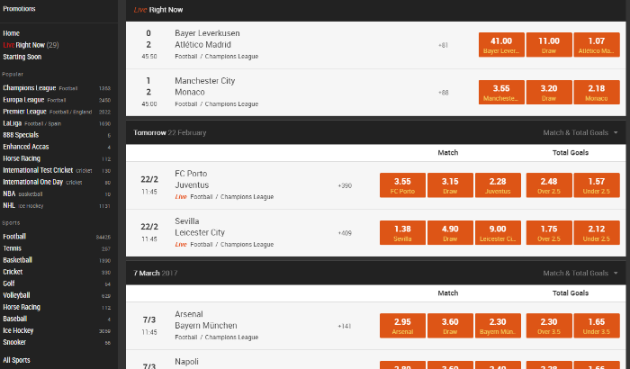 live betting screen at 888