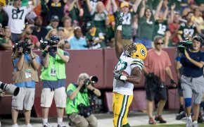 Aaron Jones of the Green Bay Packers celebrating a touchdown