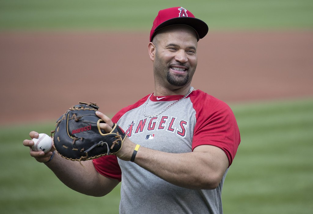 Albert Pujols of the LA Angels warming up