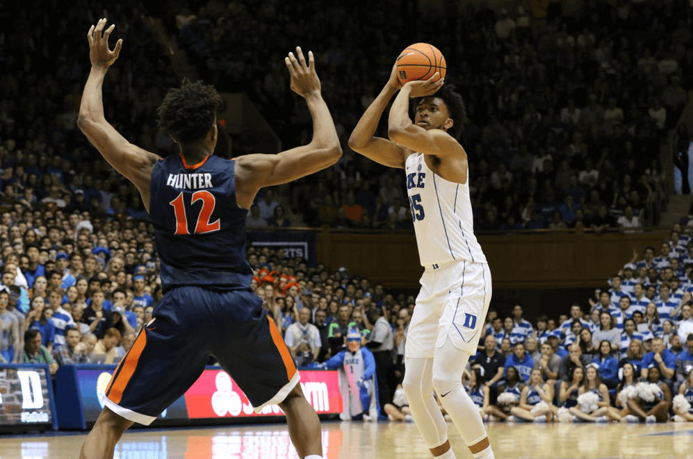 Duke forward Marvin Bagley shooting a jumper