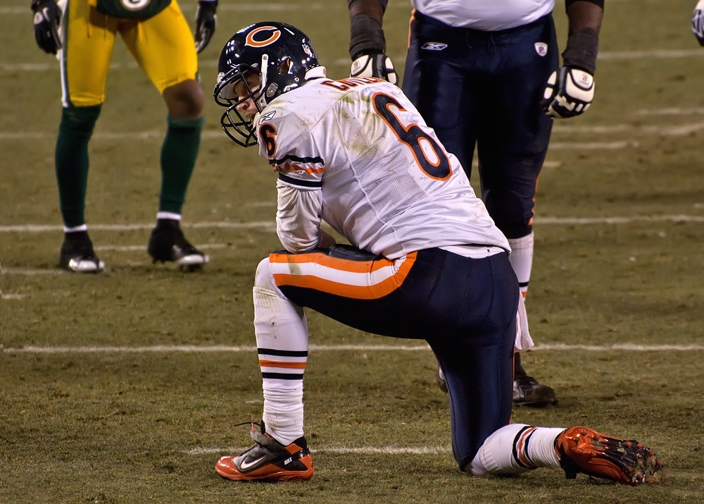Jay Cutler takes a knee.
