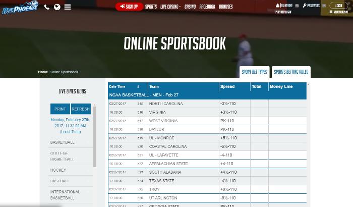 Bet Pheonix sportsbook home