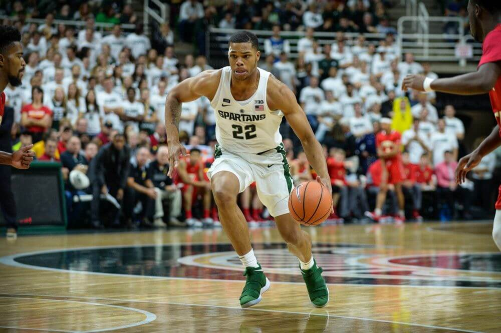 MSU Spartans guard Miles Bridges drives to the basket