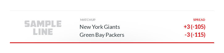 sample against the spread line new york giants green bay packers