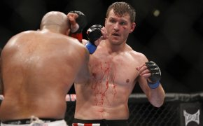 08 October 2011: Stipe Miocic (right) in action against Joey Beltran during UFC 136 on October 8, 2011 at the Toyota Center in Houston, TX.