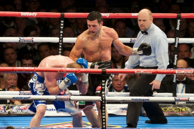 May 31, 2014: Boxing - Froch-Groves II - Wembley Stadium - Carl Froch lands punches on Groves in the 5th