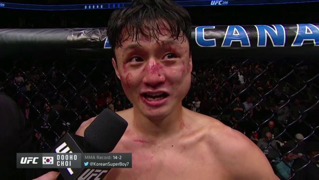 Choi after his fight with Cub Swanson at UFC 206