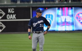 Christian Yelich of the Brewers on the field