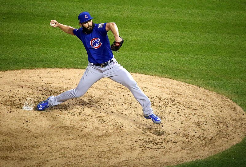 Jake Arrieta pitching with the Cubs