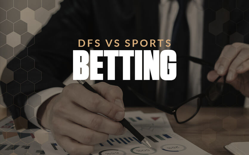 DFS vs sports betting text overlay on man signing legal document