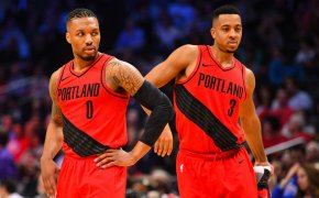 Portland Trail Blazers guards Damian Lillard and CJ McCollum