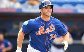 Peter Alonso runs to first base.