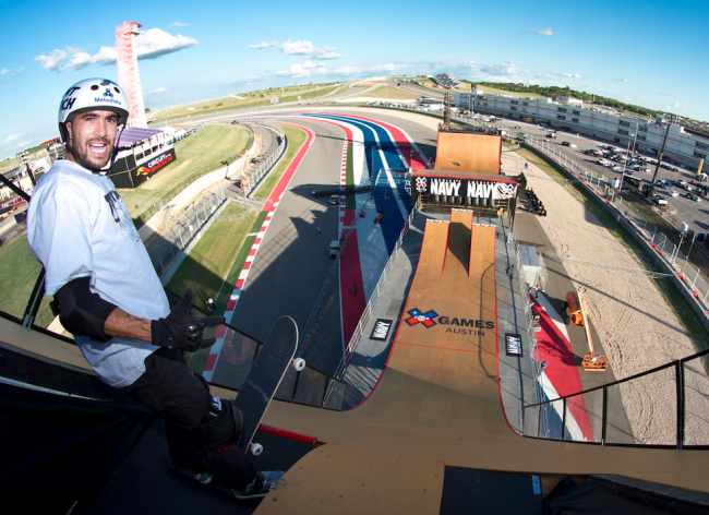 "Edgard ""Vovo"" Pereira at the top of the megaramp at X-Games Austin 2015"