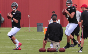 Falcons QBs Matt Ryan and Matt Schaub passing during practice.
