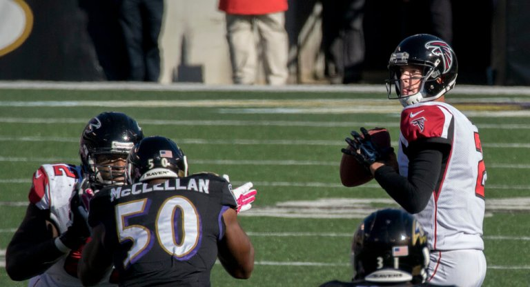 Falcons QB Matt Ryan stands in the pocket.