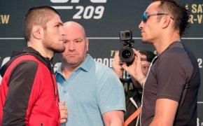 Tony Ferguson and Khabib Nurmagomedov stare down before UFC 209