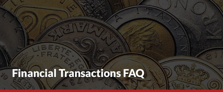 financial transaction FAQ header image