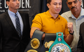 Unified middleweight champion Gennady Golovkin posing with his title belts.