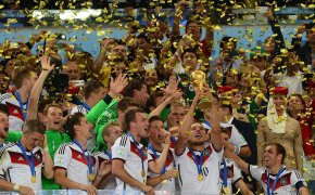 Germany celebrating their 2014 FIFA World Cup victory