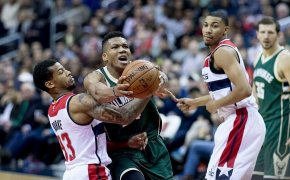 Giannis Antetokounmpo drives to the hoop against the Wizards