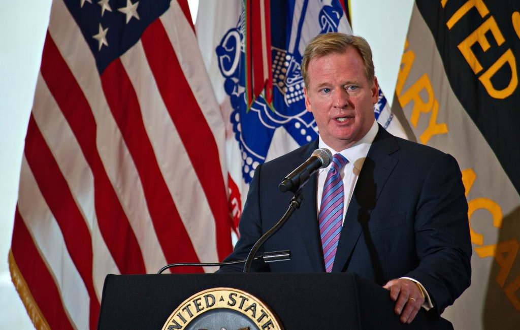 NFL commissioner Roger Goodell giving a speech at West Point