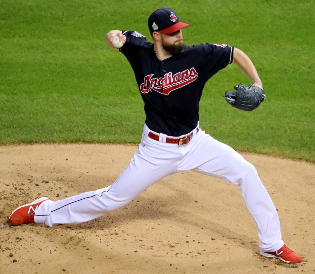 The Indians' Corey Kluber delivers a pitch