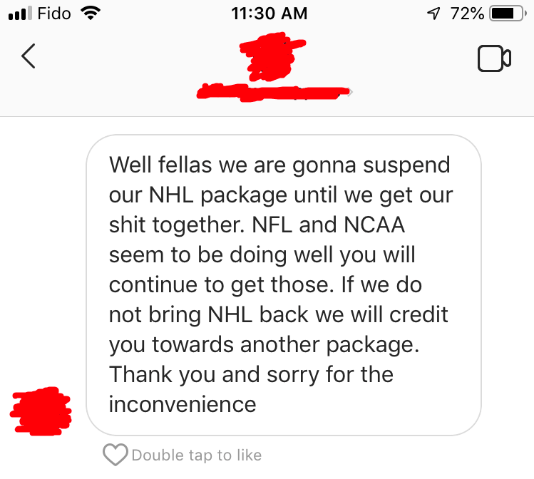instagram handicapper screenshot nhl package revoked