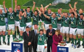 Irish national rugby team celebrating its win at the 2018 Six Nations tournament
