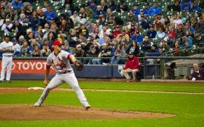 Cardinals pitcher Jack Flaherty delivering a pitch