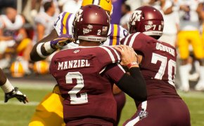 Manziel throwing a pass for the Aggies.