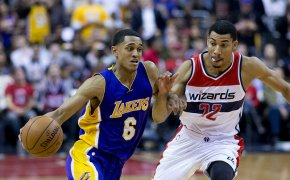 Jordan Clarkson drives to the hoop against Otto Porter Jr.