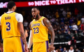 LeBron James reaction with Anthony Davis