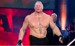Brock Lesnar walking to the ring.