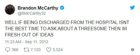Brandon McCarthy Threesome Tweet