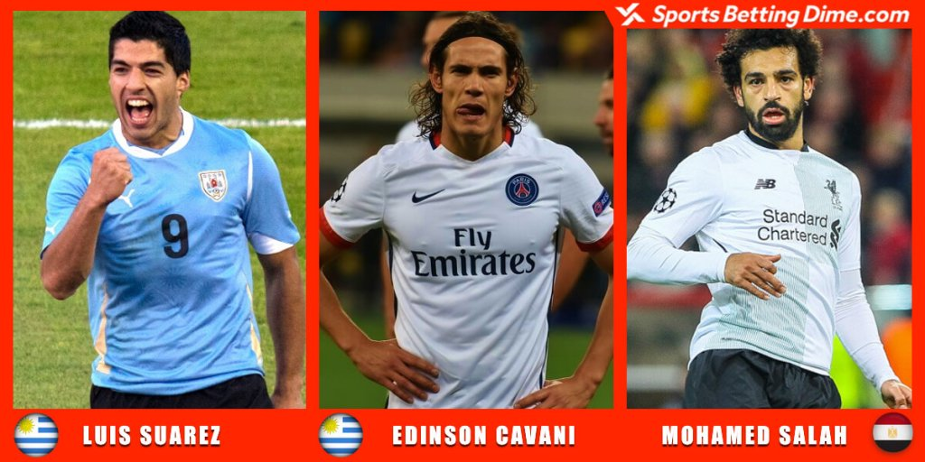 Luis Suarez, Edinson Cavani, and Mohamed Salah.