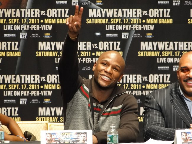 Floyd Mayweather doing a press conference hyping is fight with Victor Ortiz in 2011