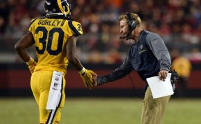 Todd Gurley Rams RB and Sean McVay Rams head coach celebrating